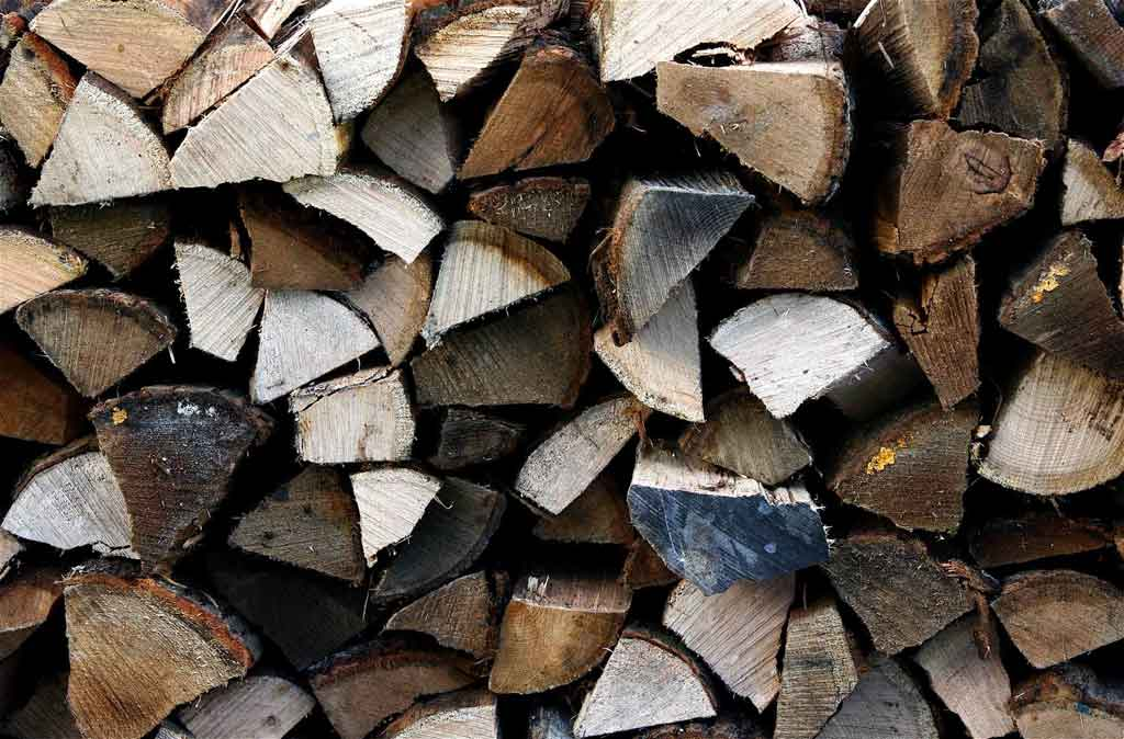logs, kindling, firewood, stacked